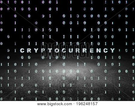 Data concept: Glowing text Cryptocurrency in grunge dark room with Dirty Floor, black background with Binary Code