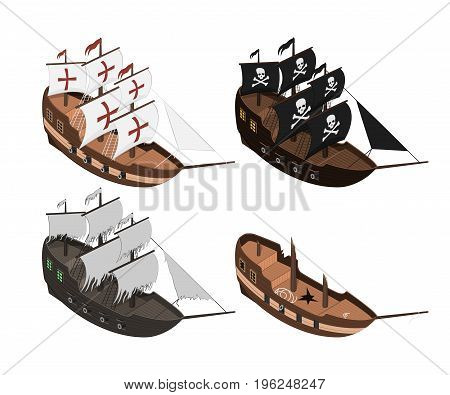 Set of sailers on a white background. Isolated sailboat in isometric style. 3d illustration of ancient ship. Pirate game. Vector illustration