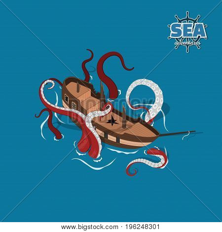 Broken sailer with kraken on a blue background. Sailboat in isometric style. 3d illustration of ancient ship. Pirate game. Vector illustration