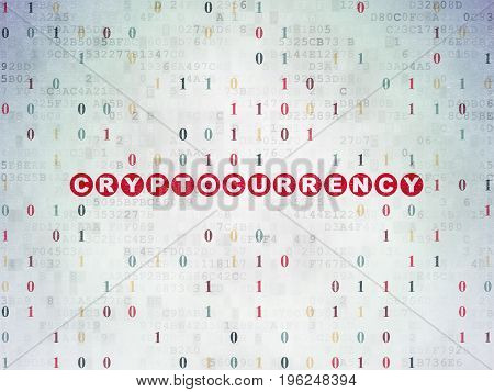 Data concept: Painted red text Cryptocurrency on Digital Data Paper background with Binary Code