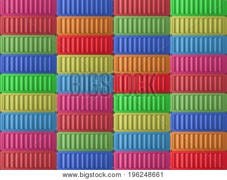 3d rendering heap of colorful containers or colorful background