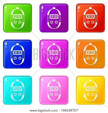Stopwatch icons of 9 color set isolated vector illustration