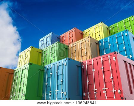 3d rendering heap of colorful containers with blue sky