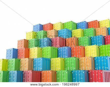 3d rendering heap of colorful containers on white background