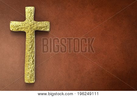 3d rendering gold cross with blank space on brown leather background