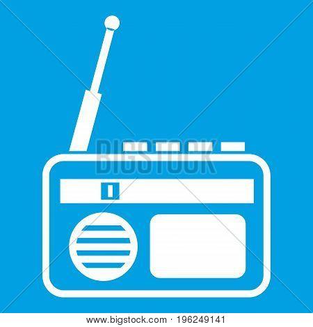 Radio icon white isolated on blue background vector illustration
