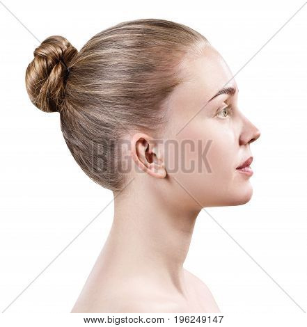 Profile of beautiful young woman without make-up with healthy skin
