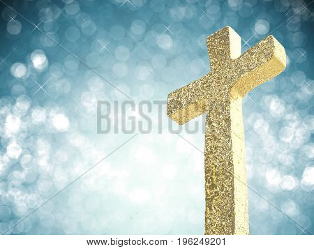 3d rendering gold cross on blue background