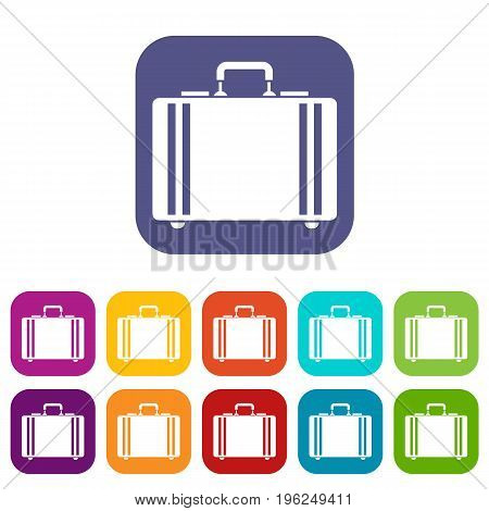 Diplomat icons set vector illustration in flat style in colors red, blue, green, and other