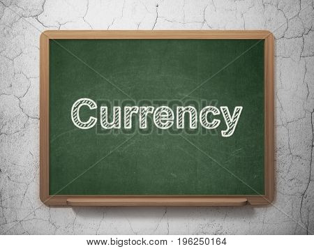 Banking concept: text Currency on Green chalkboard on grunge wall background, 3D rendering