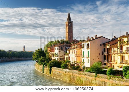 Facades Of Houses On Waterfront Of The Adige River, Verona