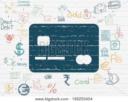 Banking concept: Painted blue Credit Card icon on White Brick wall background with Scheme Of Hand Drawn Finance Icons