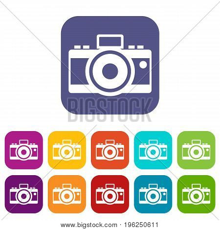 Photocamera icons set vector illustration in flat style in colors red, blue, green, and other