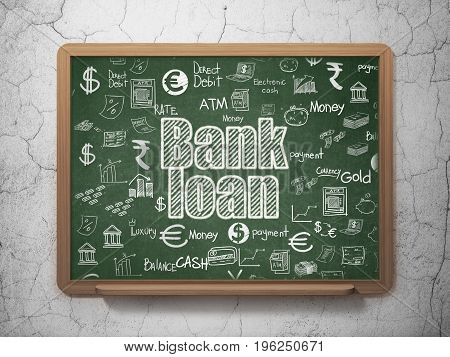 Money concept: Chalk White text Bank Loan on School board background with  Hand Drawn Finance Icons, 3D Rendering