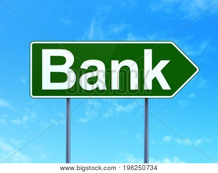Currency concept: Bank on green road highway sign, clear blue sky background, 3D rendering