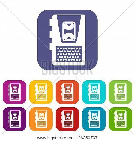 Dictaphone icons set vector illustration in flat style in colors red, blue, green, and other