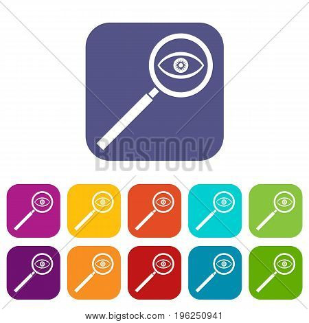 Magnifying glass icons set vector illustration in flat style in colors red, blue, green, and other