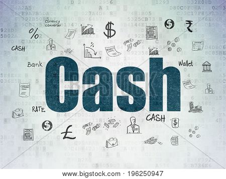 Banking concept: Painted blue text Cash on Digital Data Paper background with  Hand Drawn Finance Icons
