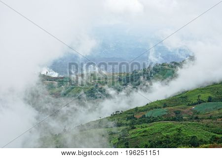 Morning mountain landscape with curved road waves of fog and cloudy sky. Cultivated land at Phu Tub Berg Phetchabun province Thailand