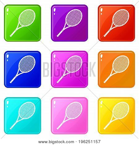 Tennis racket icons of 9 color set isolated vector illustration