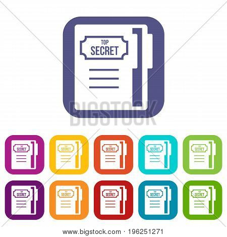 Notepad icons set vector illustration in flat style in colors red, blue, green, and other
