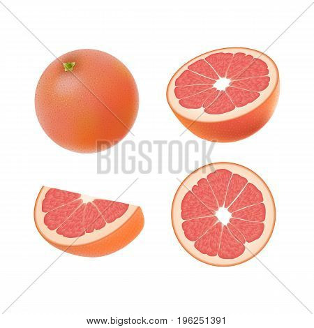 Set of isolated colored pink grapefruits half slice circle and whole juicy fruit on white background. Realistic citrus collection