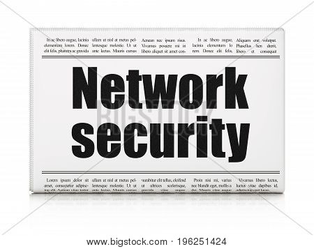 Security concept: newspaper headline Network Security on White background, 3D rendering