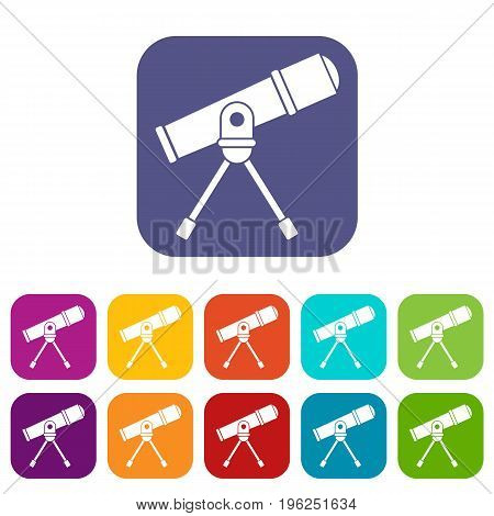 Space telescope icons set vector illustration in flat style in colors red, blue, green, and other