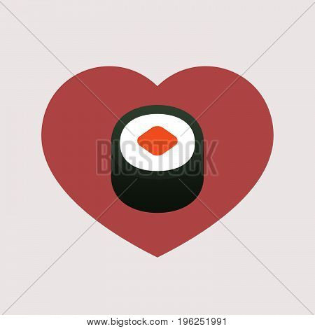 Isolated Heart With A Piece Of Sushi Maki