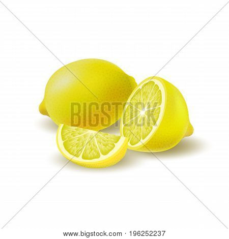 Isolated colored group of lemons half slice and whole juicy fruit with shadow on white background. Realistic citrus