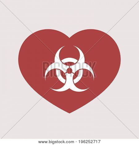 Isolated Heart With A Biohazard Sign