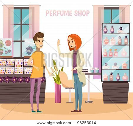 Perfume shop composition with the seller advises the buyer at the store vector illustration