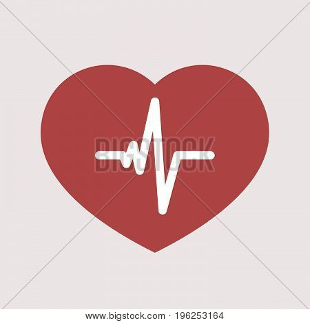 Isolated Heart With A Heart Beat Sign