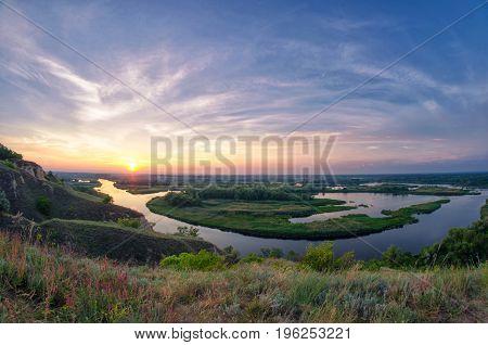 Summer Bright Landscape On Delta Of The River Vorskla
