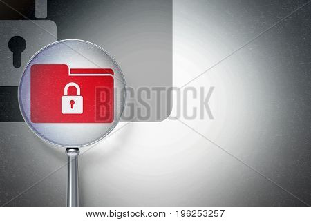 Business concept: magnifying optical glass with Folder With Lock icon on digital background, empty copyspace for card, text, advertising, 3D rendering