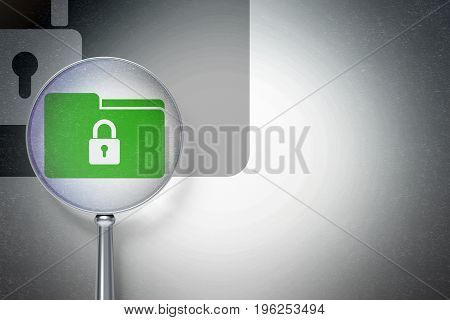 Finance concept: magnifying optical glass with Folder With Lock icon on digital background, empty copyspace for card, text, advertising, 3D rendering