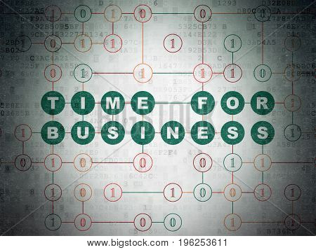 Finance concept: Painted green text Time for Business on Digital Data Paper background with Binary Code