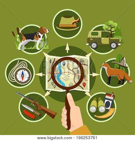 Professional hunter and equipment concept with animals rifle and compass flat vector illustration