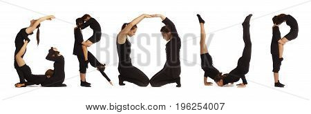 Black dressed people forming GROUP word over white background