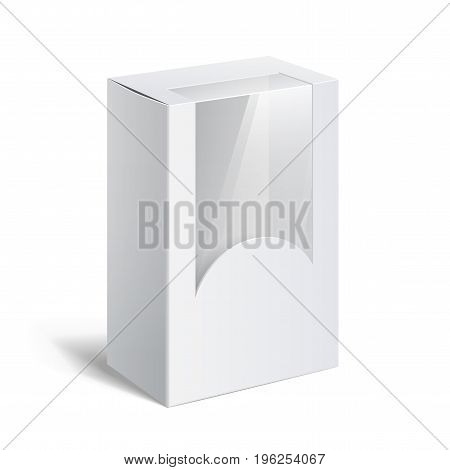 Realistic White Package Box. For Software electronic device and other products. Vector illustration.