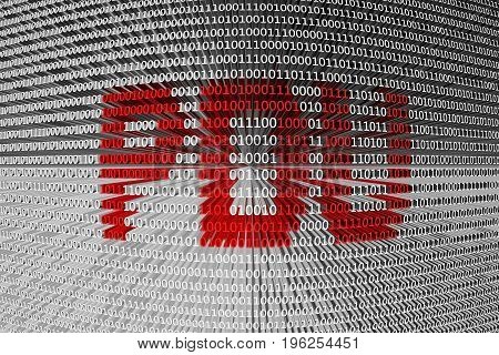 PDU in the form of binary code, 3D illustration