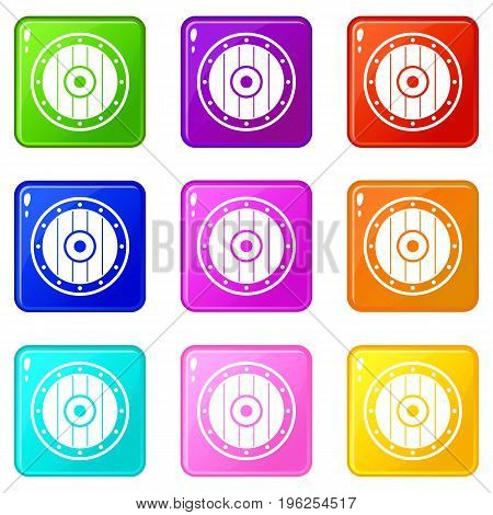 Round army shield icons of 9 color set isolated vector illustration