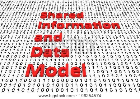 Shared information and data model in the form of binary code, 3D illustration