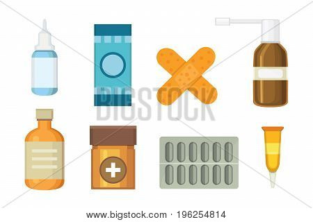 Cartoon medicaments. Different medical pills and bottles, healthcare and shopping, pharmacy, drug store. Vector illustration in flat style.