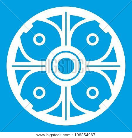 Shield icon white isolated on blue background vector illustration