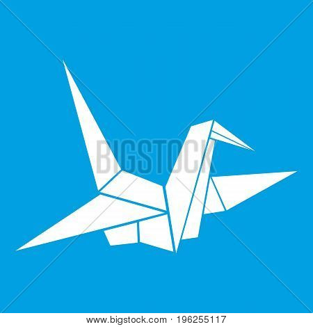 Bird origami icon white isolated on blue background vector illustration