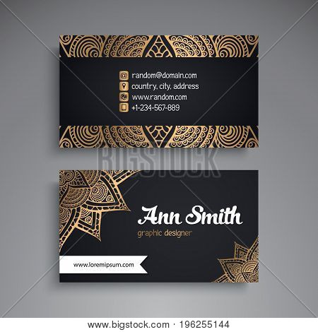 Business Card. Vintage decorative elements. Ornamental floral business cards, oriental pattern, vector illustration