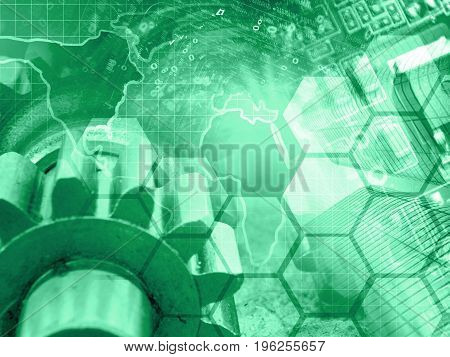 Computer background in greens with electronic device map gear and digits.