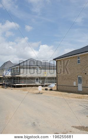Elmstead Essex United Kingdom -17 July 2017: New housing development with drive in foreground
