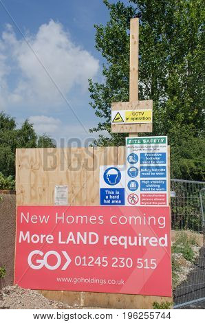 Elmstead Essex United Kingdom -17 July 2017: Sign requesting more land for building development on site